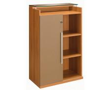Rangement mi-haut 1 porte coulissante SLIVER, largeur : 80 cm - Finition noyer/taupe