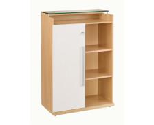 Rangement mi-haut 1 porte coulissante SLIVER, largeur : 80 cm - Finition chêne/blanche brillante