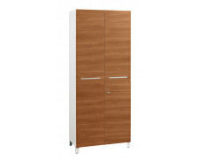 Armoire 2 portes finition noyer SUNDAY, largeur : 80 cm