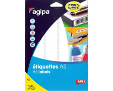 128 Etiquettes Mailing AGIPA - 105x37mm - Blanc