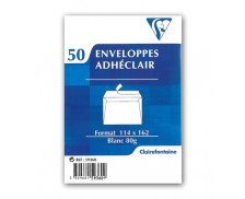 50 Enveloppes 114x162 blanc 80g Adhéclair - CLAIREFONTAINE