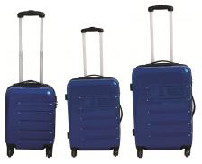 Lot 3 valises en ABS brillant  - 40 cm 50 cm 60 cm - Bleu