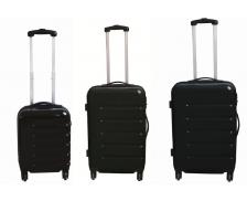 Lot 3 valises en ABS brillant  - 40 cm 50 cm 60 cm - Noir